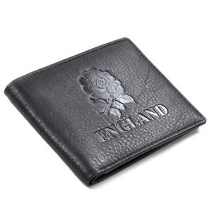 England Black Embossed Leather Wallet with Coin Compartment