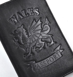Wales Black Embossed Leather Passport Wallet with Red Leather Lining Thumbnail 2