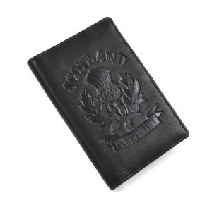 Scotland Black Embossed Leather Passport Wallet with Blue Leather Lining