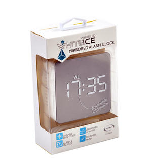 White Ice Mirrored Alarm Clock - Super White LED / Polished Finish / Alarm & Snooze / USB & Battery