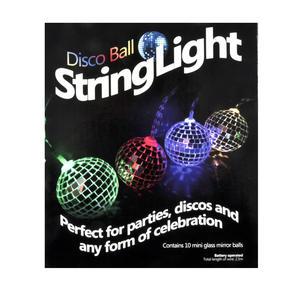 Disco Balls String Lights - 10 Mini Light Up Glass Mirror Balls Thumbnail 2