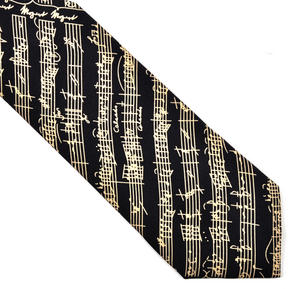 Mozart Manuscript Silk Black Tie with Music Notation for Composer / Musician / Choir