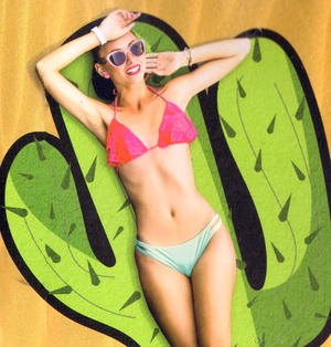 Cactus Beach Towel - 180cm  Super Large Thumbnail 2
