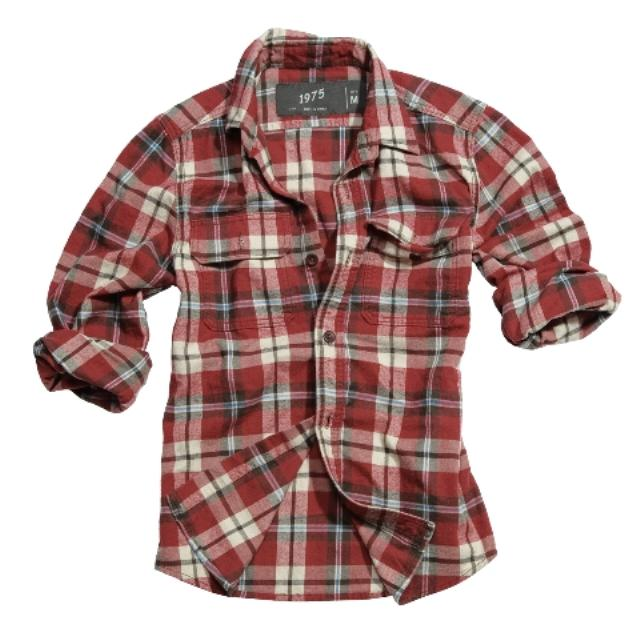 Surplus Raw Vintage Wood Cutter Lumberjack Brushed Cotton Check Shirt Red