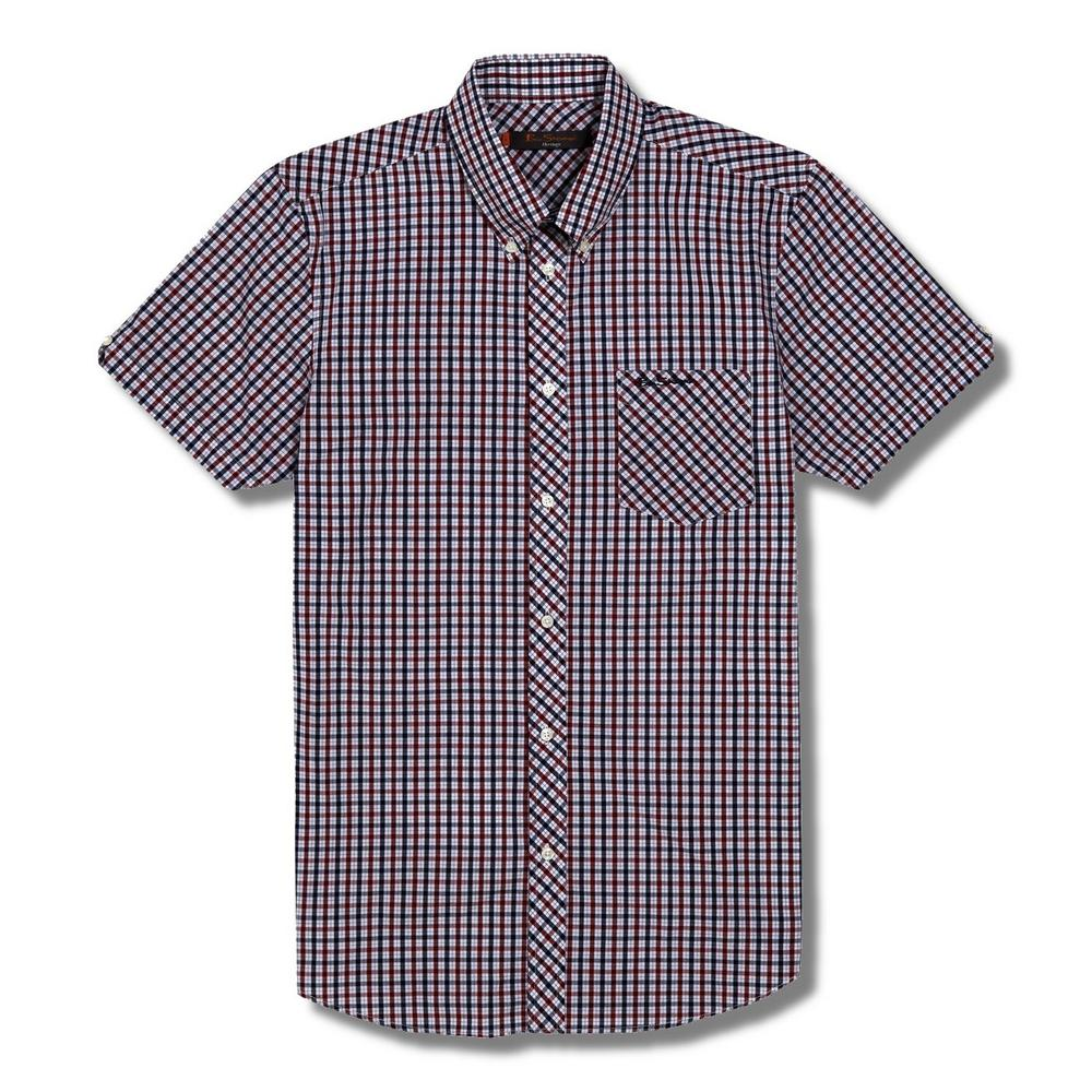 Ben Sherman Short Sleeve Mod House Check Shirt Red White