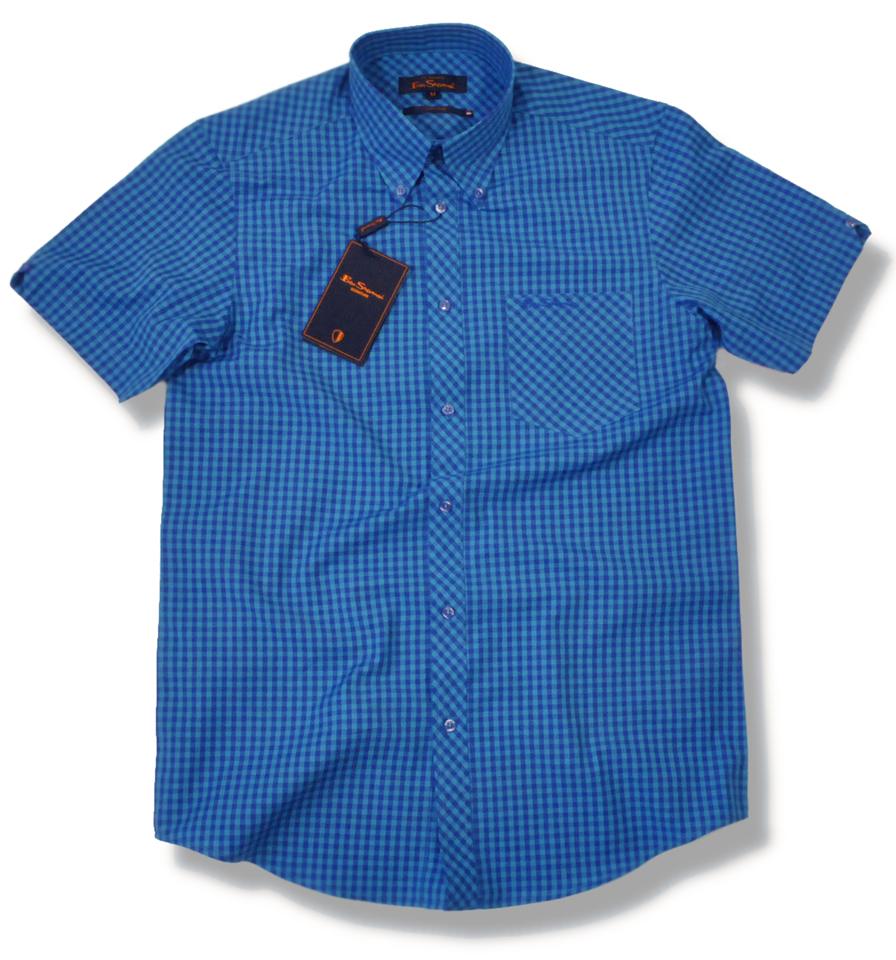 New Ben Sherman Mod Gingham Check Shirt Royal Turquoise