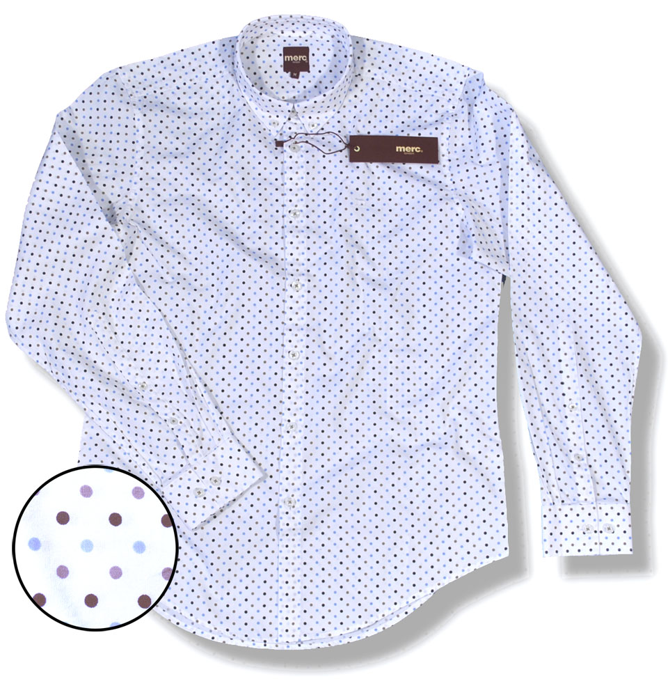 New merc mod button down polka dot l s shirt white for Button down polka dot shirt