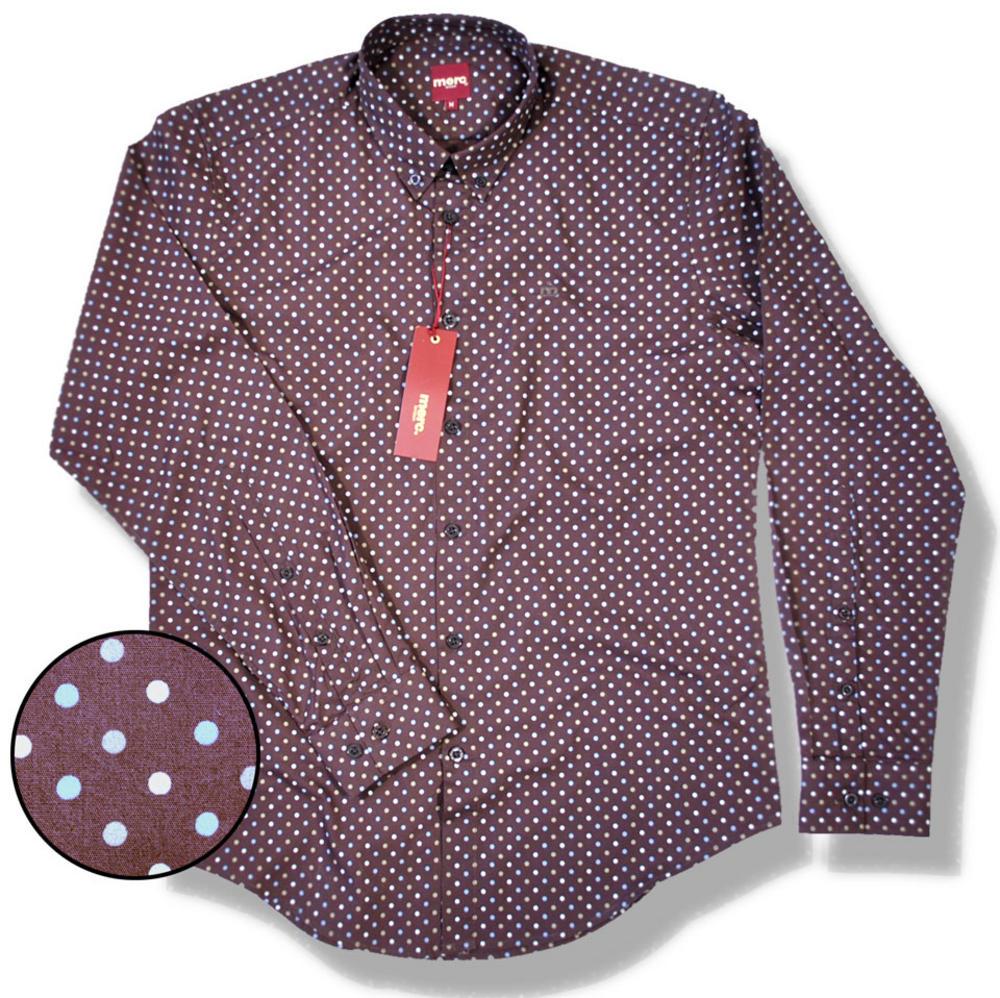 New merc mod button down polka dot l s shirt brown for Button down polka dot shirt