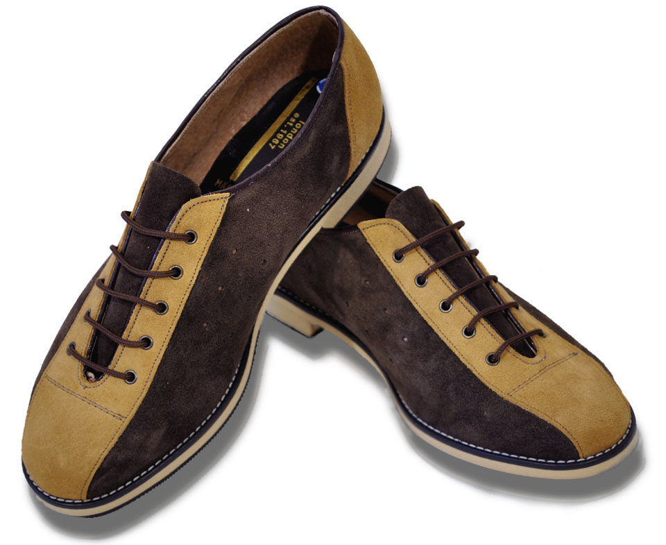 Merc London Mod Retro Suede Bowling Shoes Ladies Mens Brown Tan Stripe