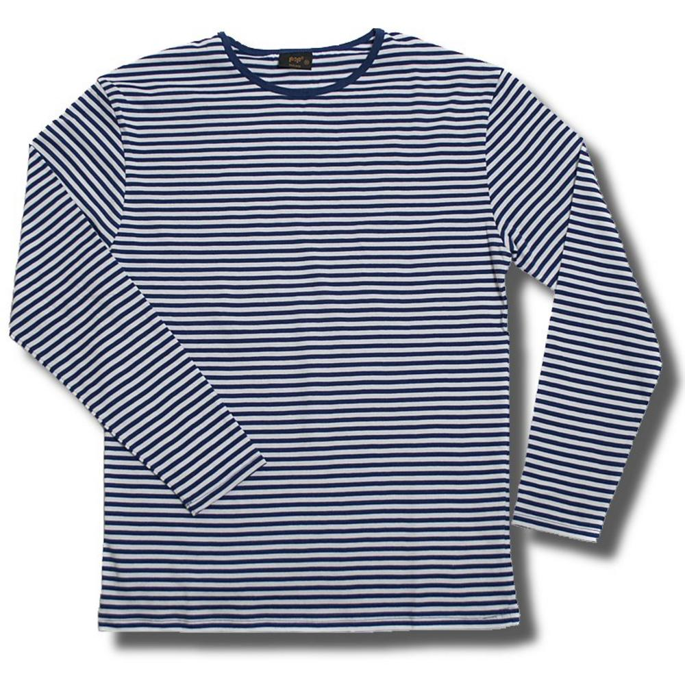 New retro long sleeve stripe t shirt navy blue white for Retro long sleeve t shirts