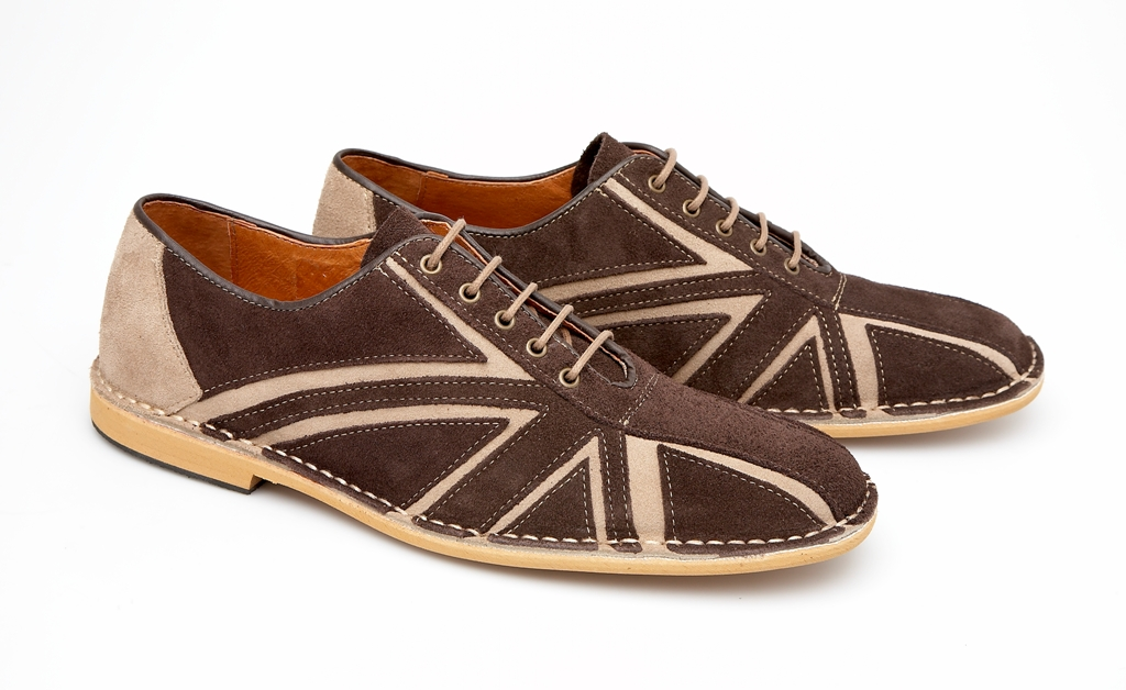 Delicious Junction Union Jack Flag Mod Retro Dancing Bowling Shoe Brown Suede