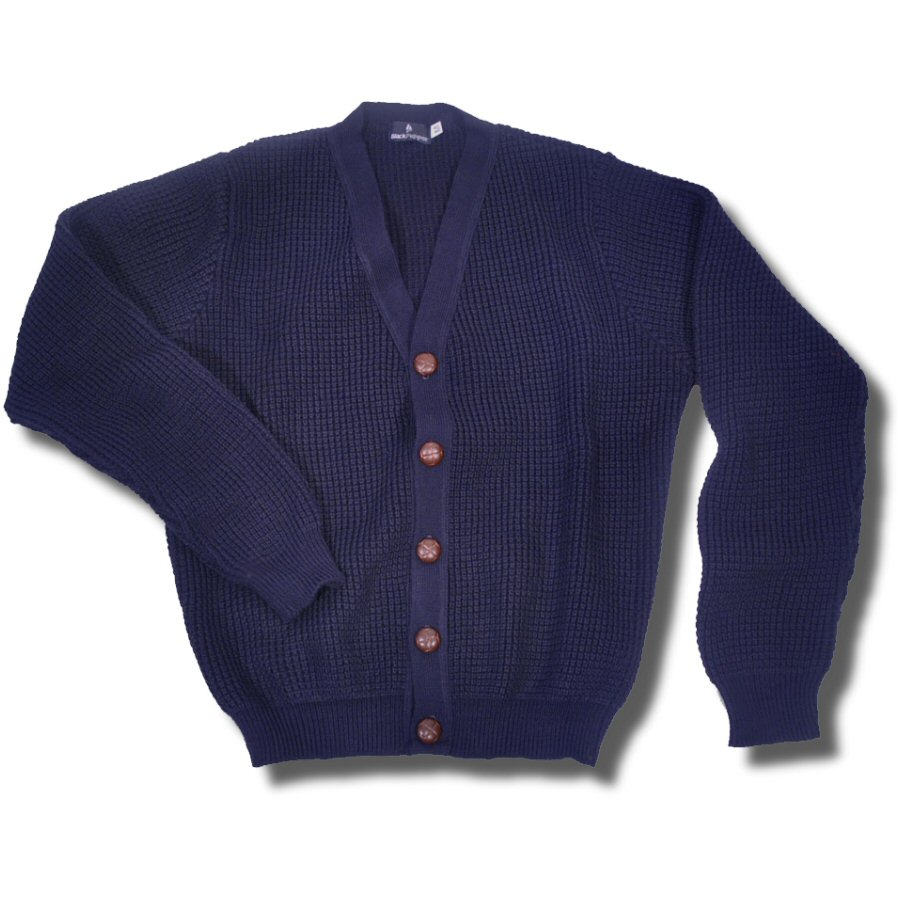 Knit Cardigan Skinhead Mod Waffle Leather Football Buttons Navy ...