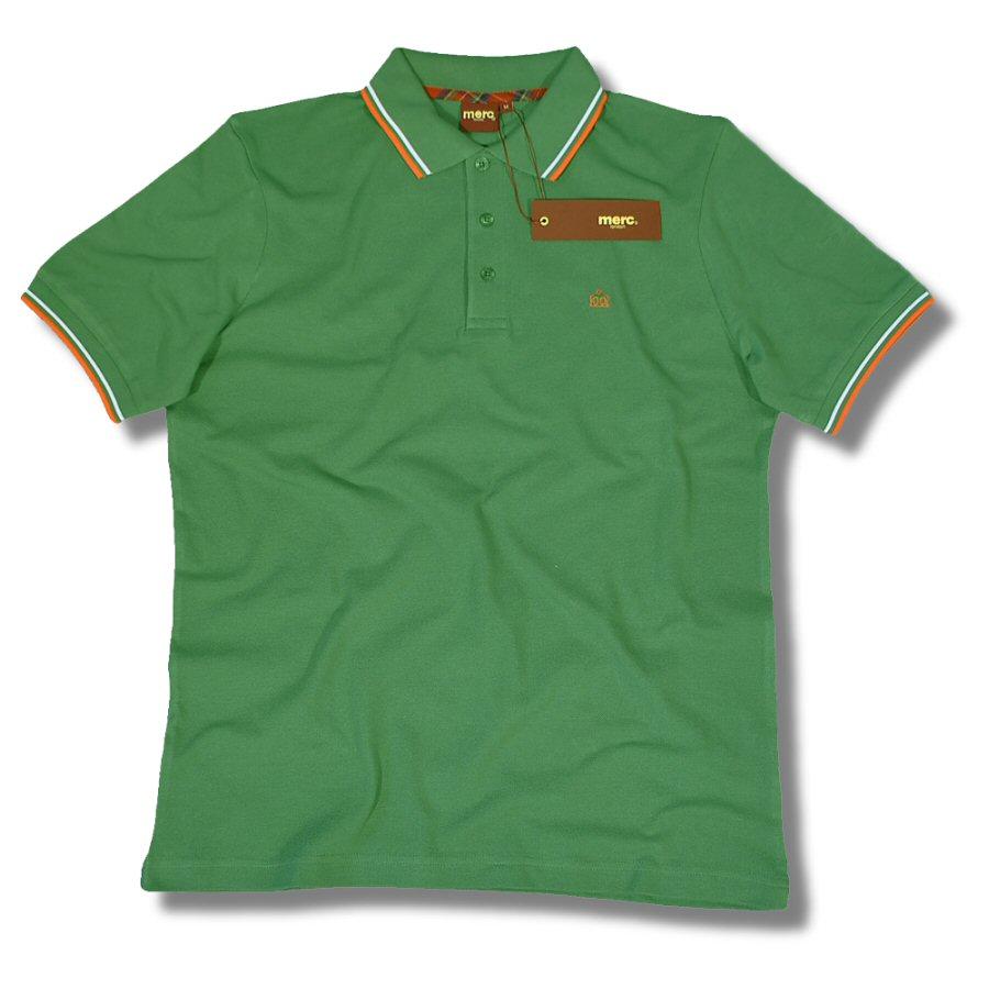 Merc london mod tipped pique 3 button polo shirt green xxl for 3 button polo shirts