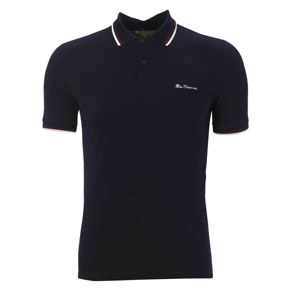 classic ben sherman mod oversize tipped pique polo shirt navy adaptor clothing. Black Bedroom Furniture Sets. Home Design Ideas