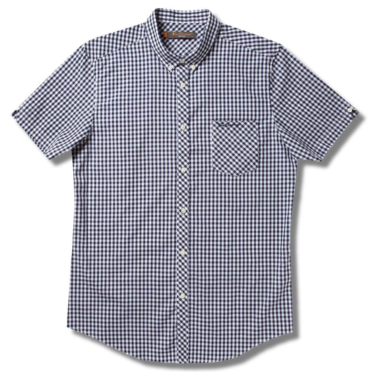 Ben Sherman Mod Skin Gingham Check Short Sleeve Shirt Navy