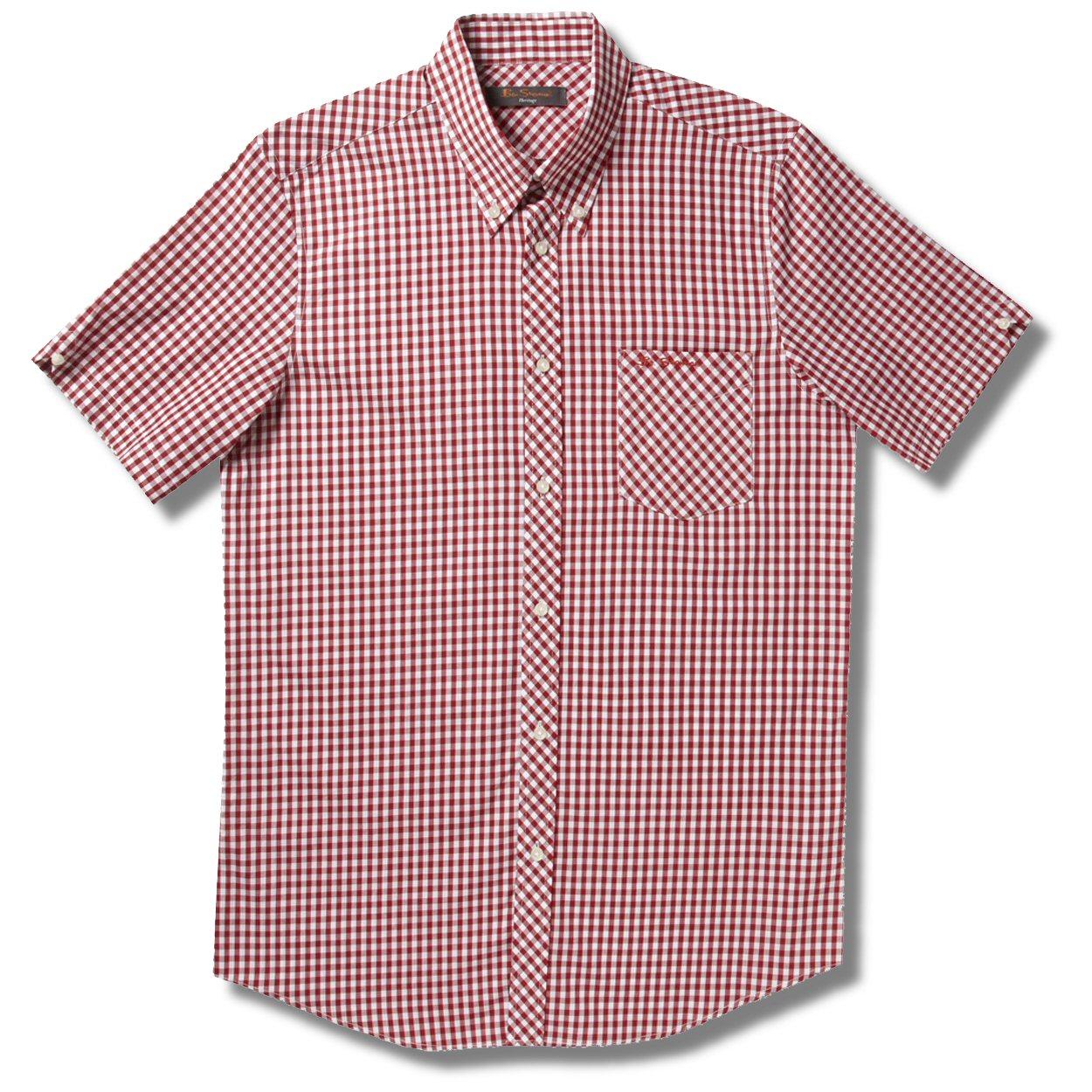 Ben Sherman Mod Skin Gingham Check Short Sleeve Shirt Red