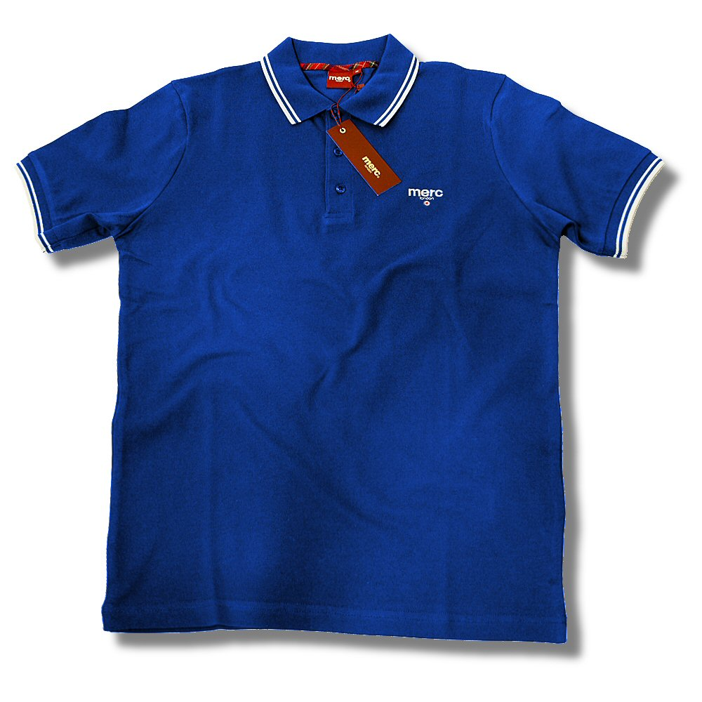 Merc london mod tipped pique 3 button target logo polo for 3 button polo shirts