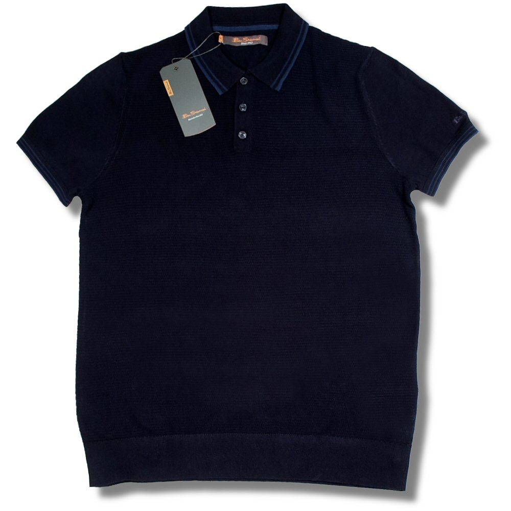 ben sherman mod fine gauge textured knit s s polo shirt dark navy l adaptor clothing. Black Bedroom Furniture Sets. Home Design Ideas