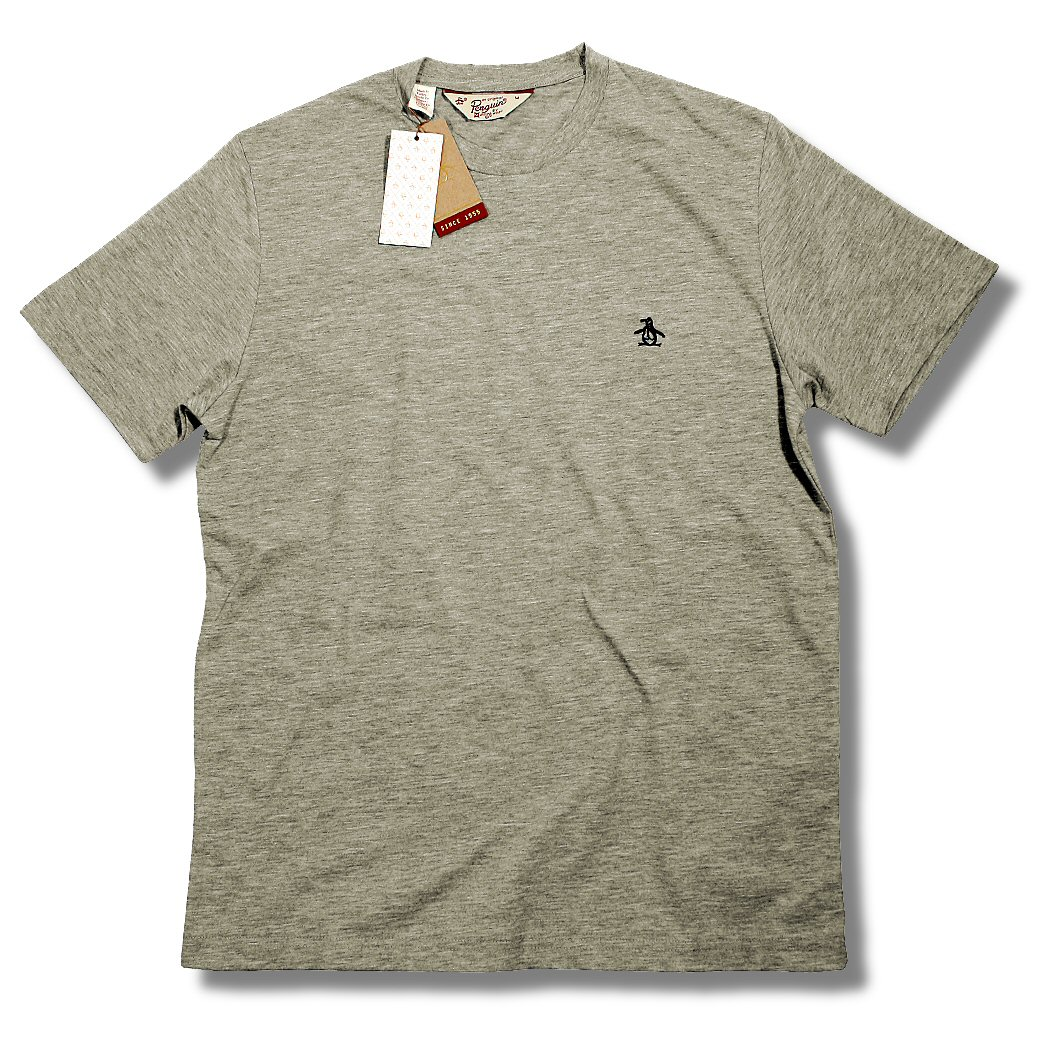 Original penguin all cotton embroidered logo plain crew for T shirt with embroidered logo