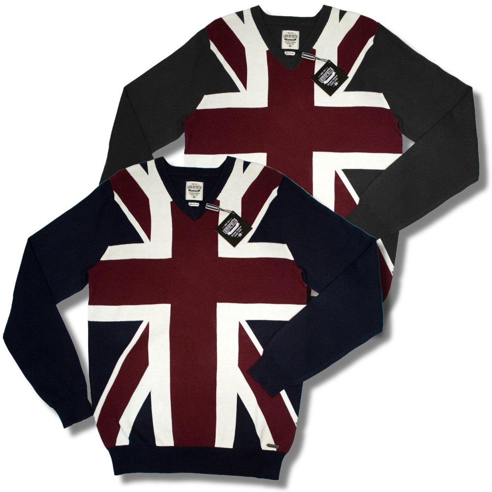 Lambretta-Fine-Gauge-Cotton-Union-Jack-Flag-V-Neck-Jumper