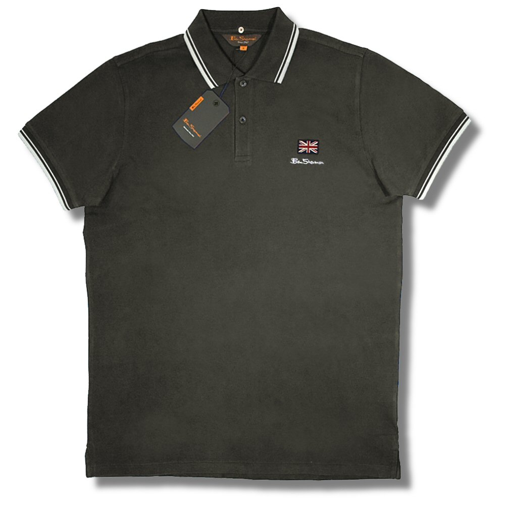 classic ben sherman mod pique tipped s s union jack flag polo shirt adaptor clothing. Black Bedroom Furniture Sets. Home Design Ideas