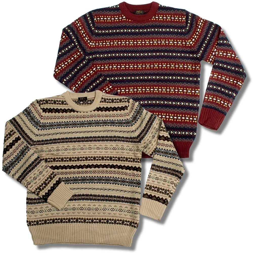 Pop Boutique Retro Knitted Winter Fairisle Stripe Jumper Burgundy Beige Ada...