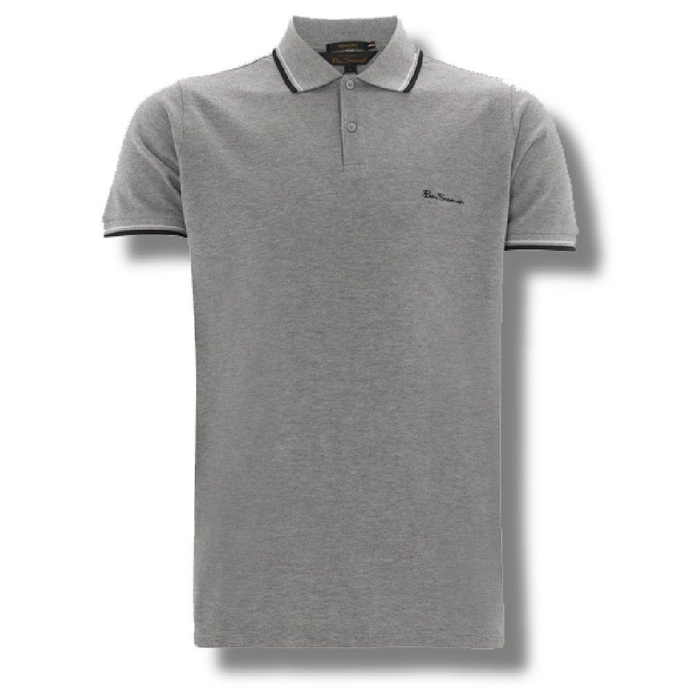 classic ben sherman mod retro tipped pique polo shirt grey m adaptor clothing. Black Bedroom Furniture Sets. Home Design Ideas