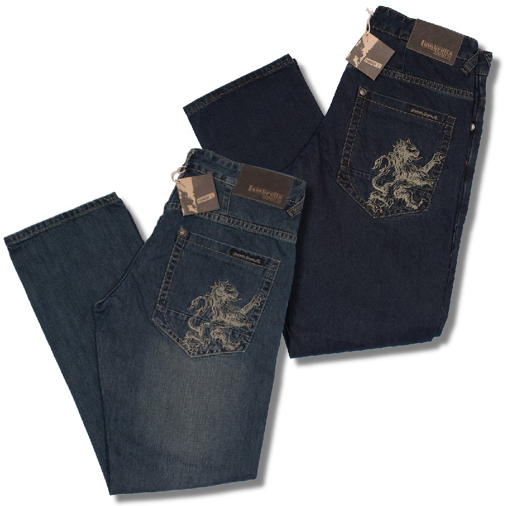 lambretta mod 60s retro lion pocket easy fit denim jeans ebay. Black Bedroom Furniture Sets. Home Design Ideas