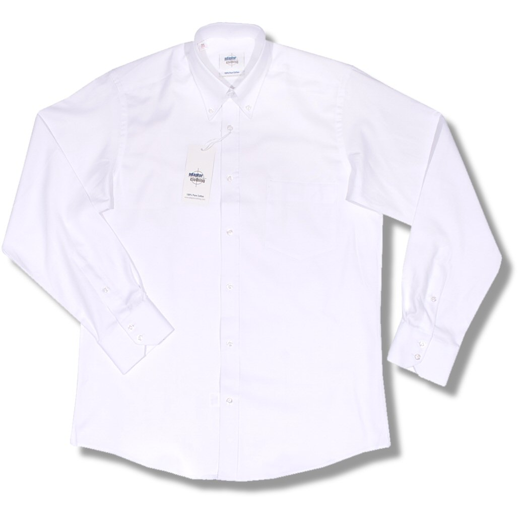 adaptor clothing 100 cotton oxford button down l s plain