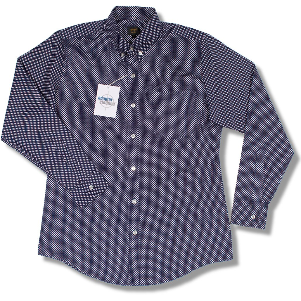 New pop retro 60 39 s mod mini polka dot l s button down for Button down polka dot shirt