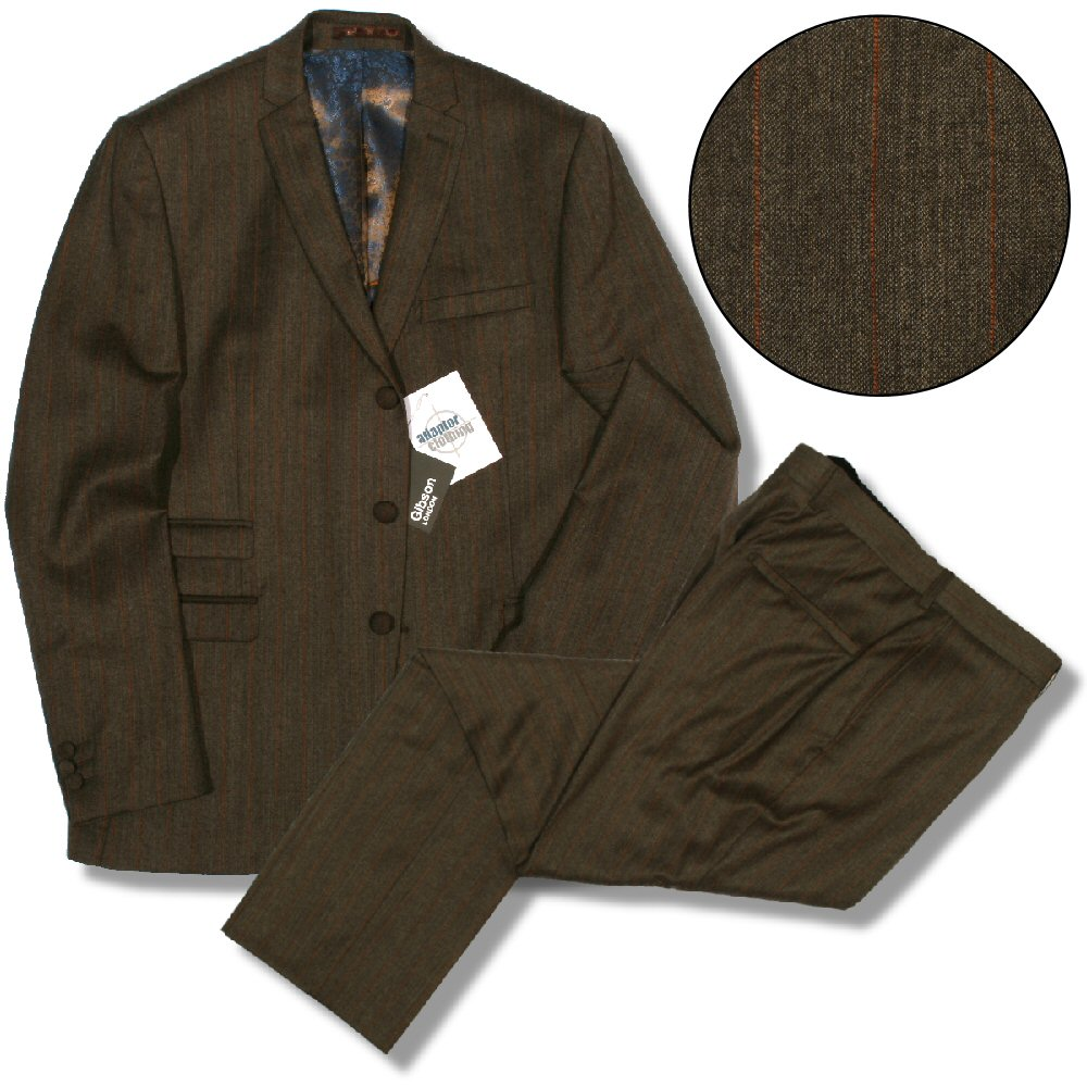 Gibson London Slim Fit 3 Covered Button Mod Wool LIGHT Brown Pin Stripe Suit