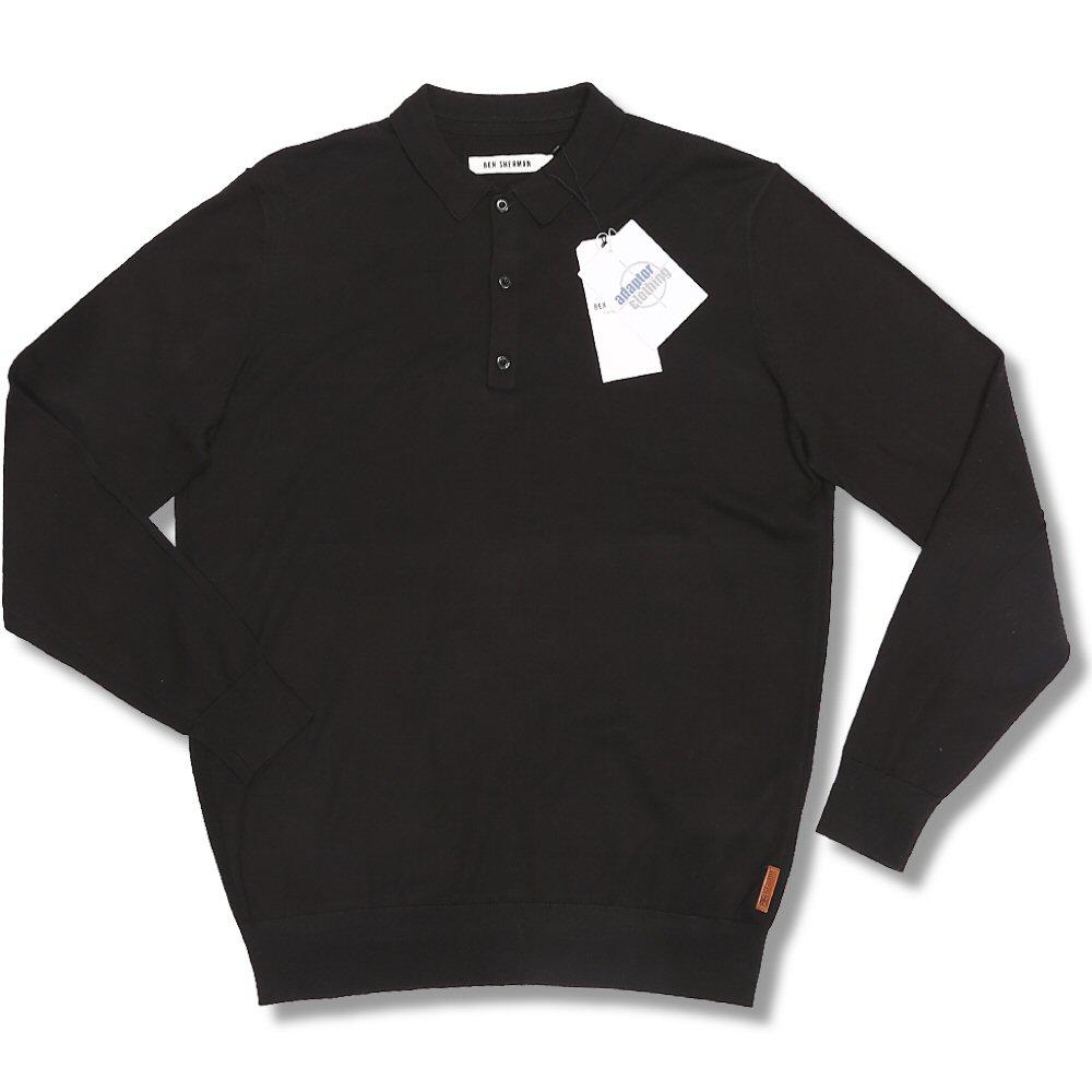 Classic ben sherman mod fine gauge knit l s 3 button polo for 3 button polo shirts