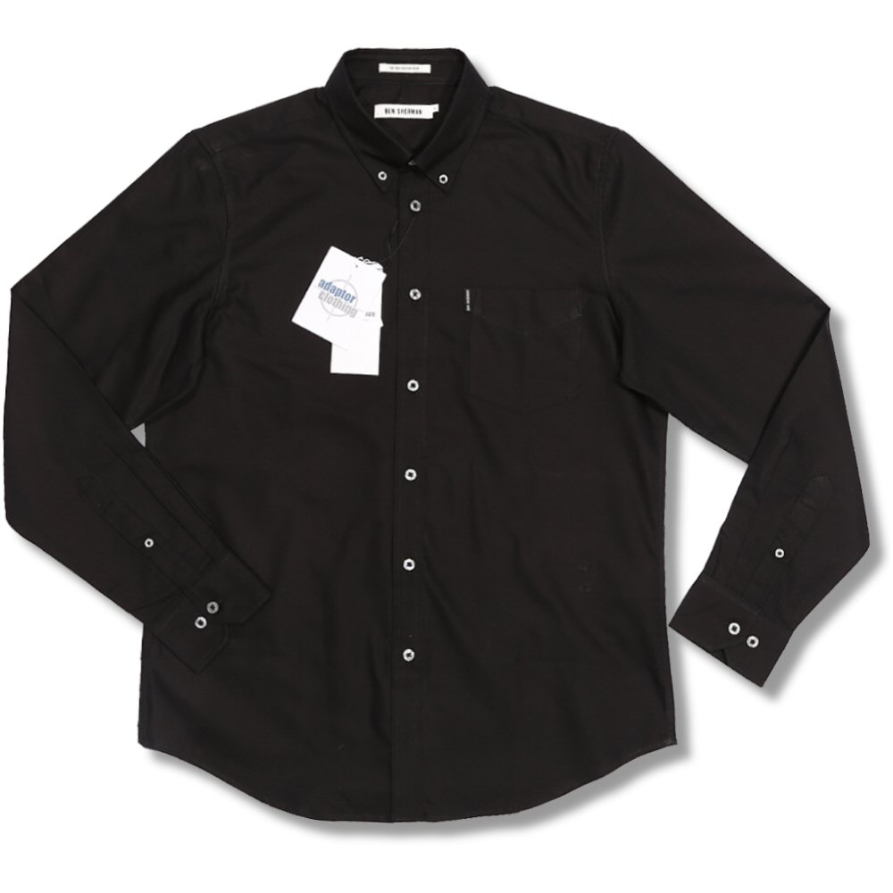 Ben sherman oxford cotton button down pocket tag l s for Black oxford button down shirt
