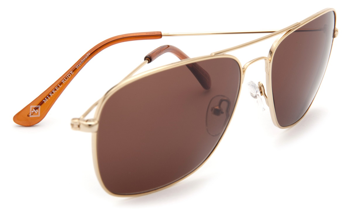Mikkel Rude Gold Metal Frame Retro 67 Aviator Sunglasses ...
