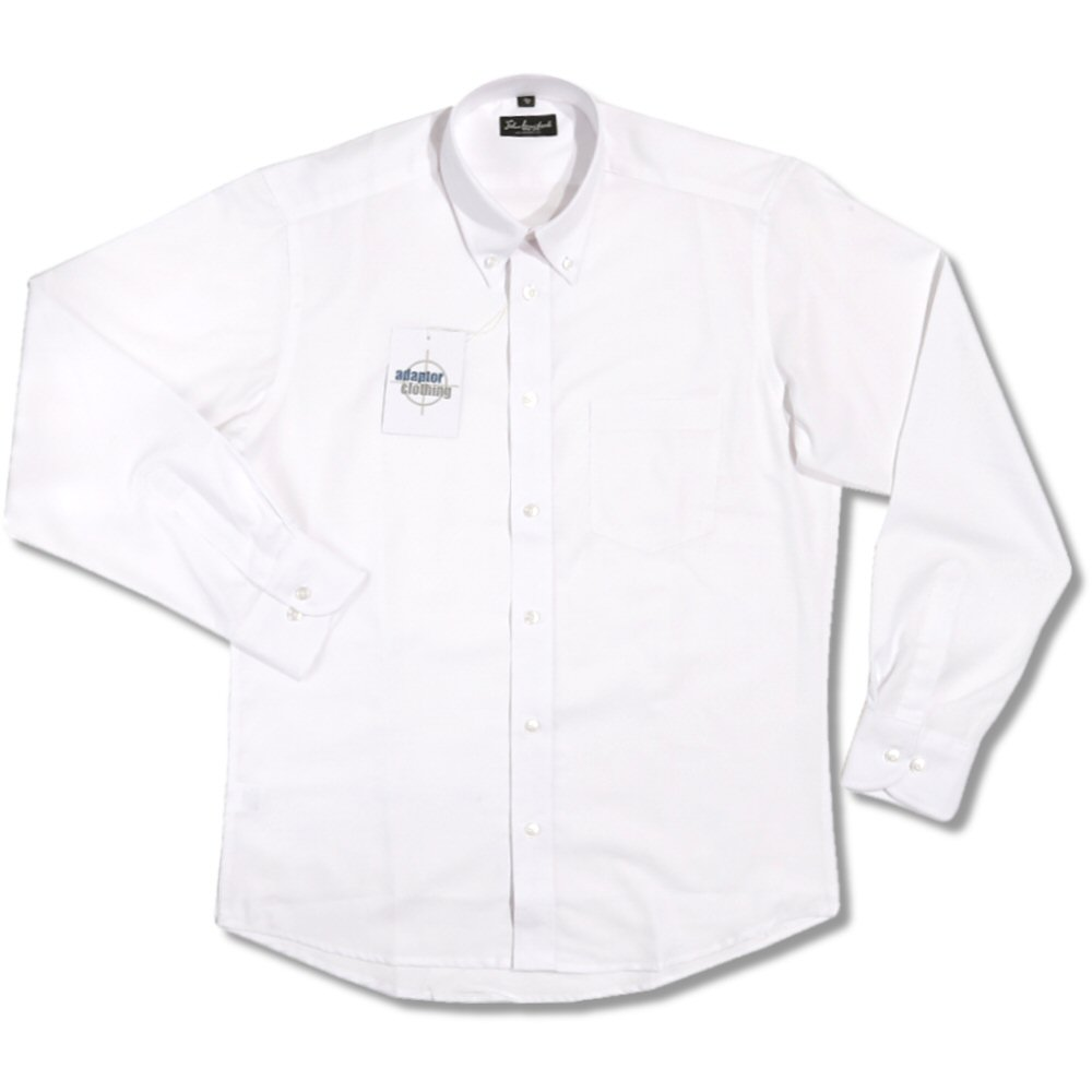 John Langford Mod Cotton Oxford Button Down L/S Plain Smart Shirt ...