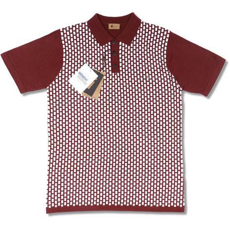 /Gabicci Vintage Mod Retro 60s S/S Knit Brick Pattern 3 Button Polo Shir...
