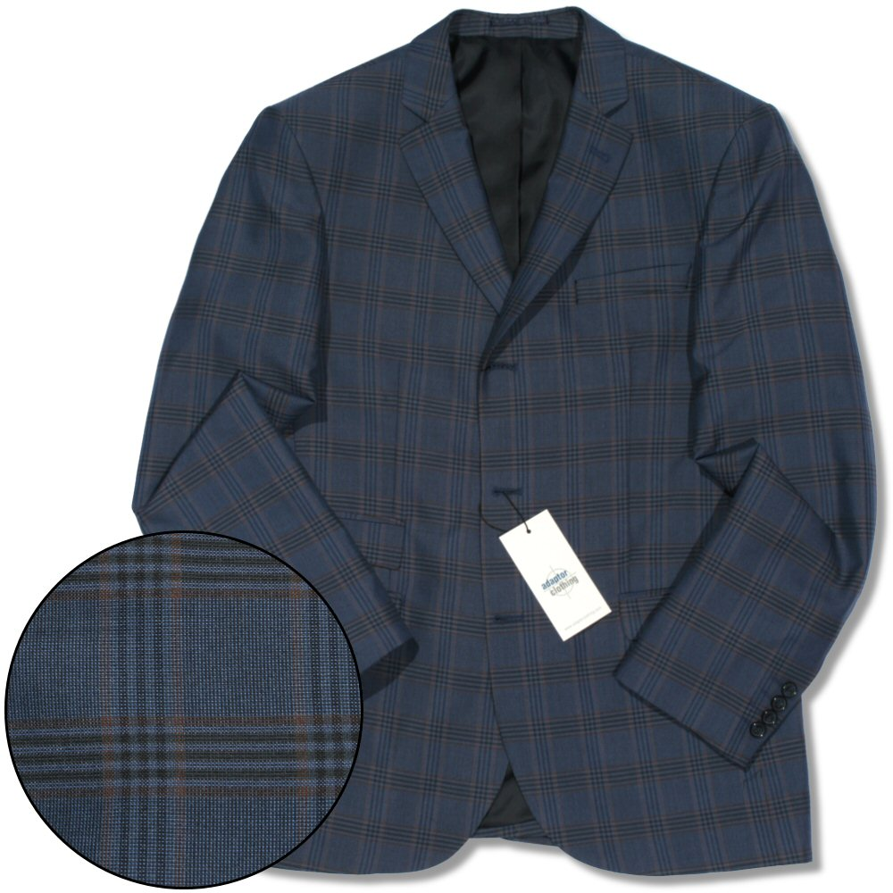 Adaptor Clothing Mod 60's Retro Ivy League 3 Button Check Sports Jacket Blue