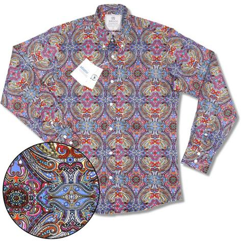 Relco Platinum Collection Satin Finish Paisley Long Sleeve Shirt Multi  Thumbnail 1