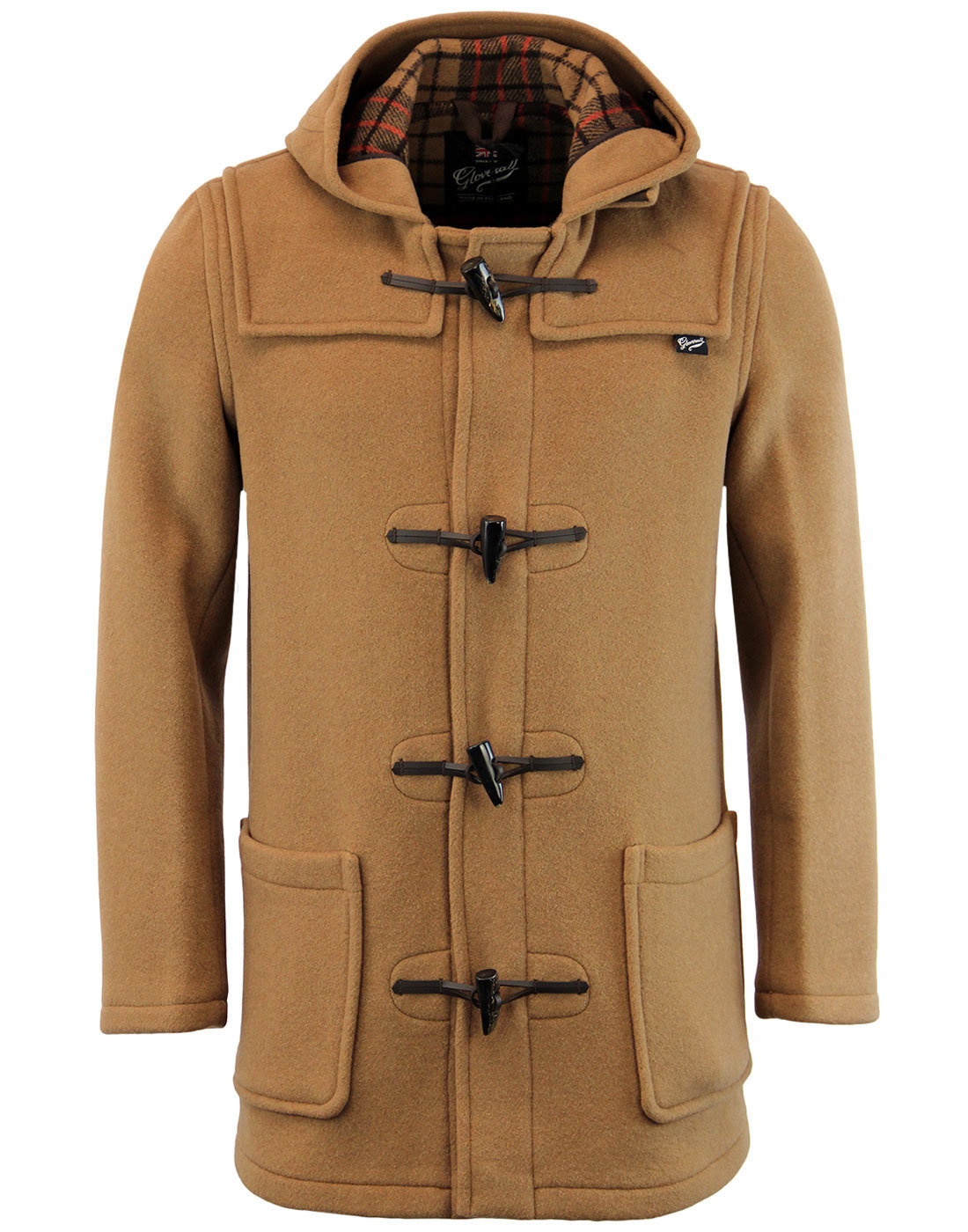 Gloverall Mid Length Leather Loop Fastening Classic Duffle Coat Tan
