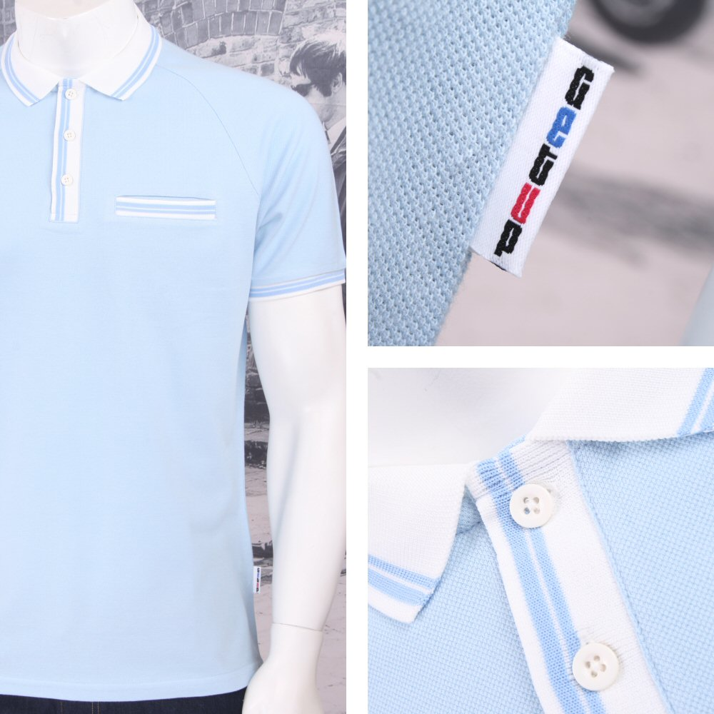 Get up 3 button all cotton pique short sleeve retro sports for Button up collared sport shirts