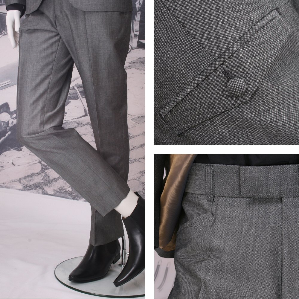 Adaptor Clothing Mod Frogmouth Pocket Tonic Two Tone Mohair Trousers Silver Grey