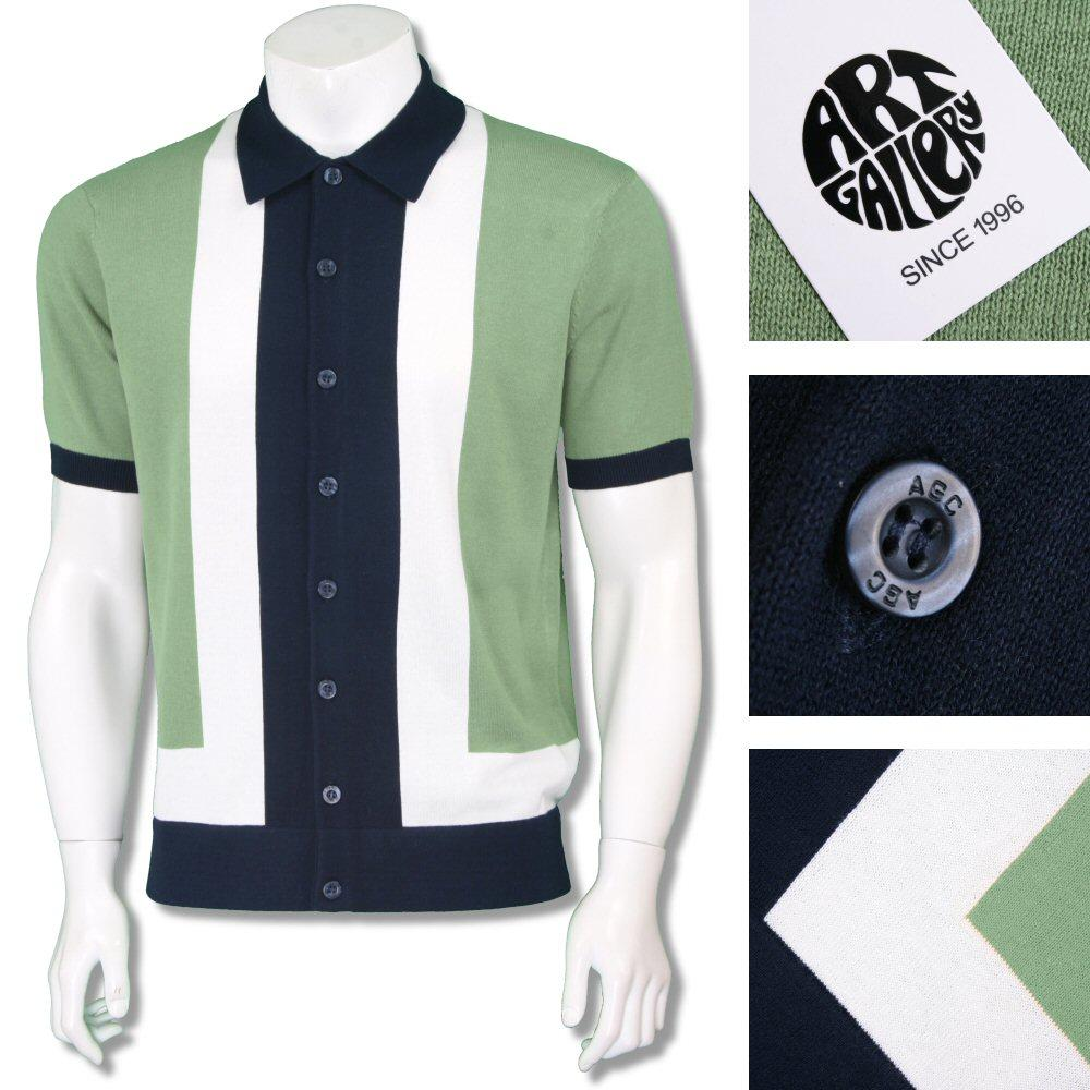 Art Gallery Exclusive Mens Retro Mod Stripe Knit Cardigan Green