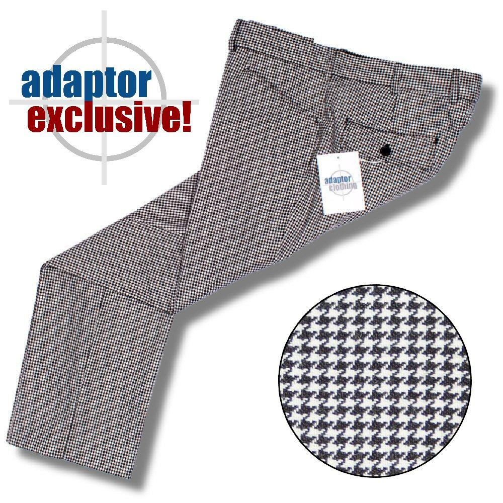 Adaptor Clothing Mod 60's Retro Frog Mouth Pocket Slim Trousers Dogtooth