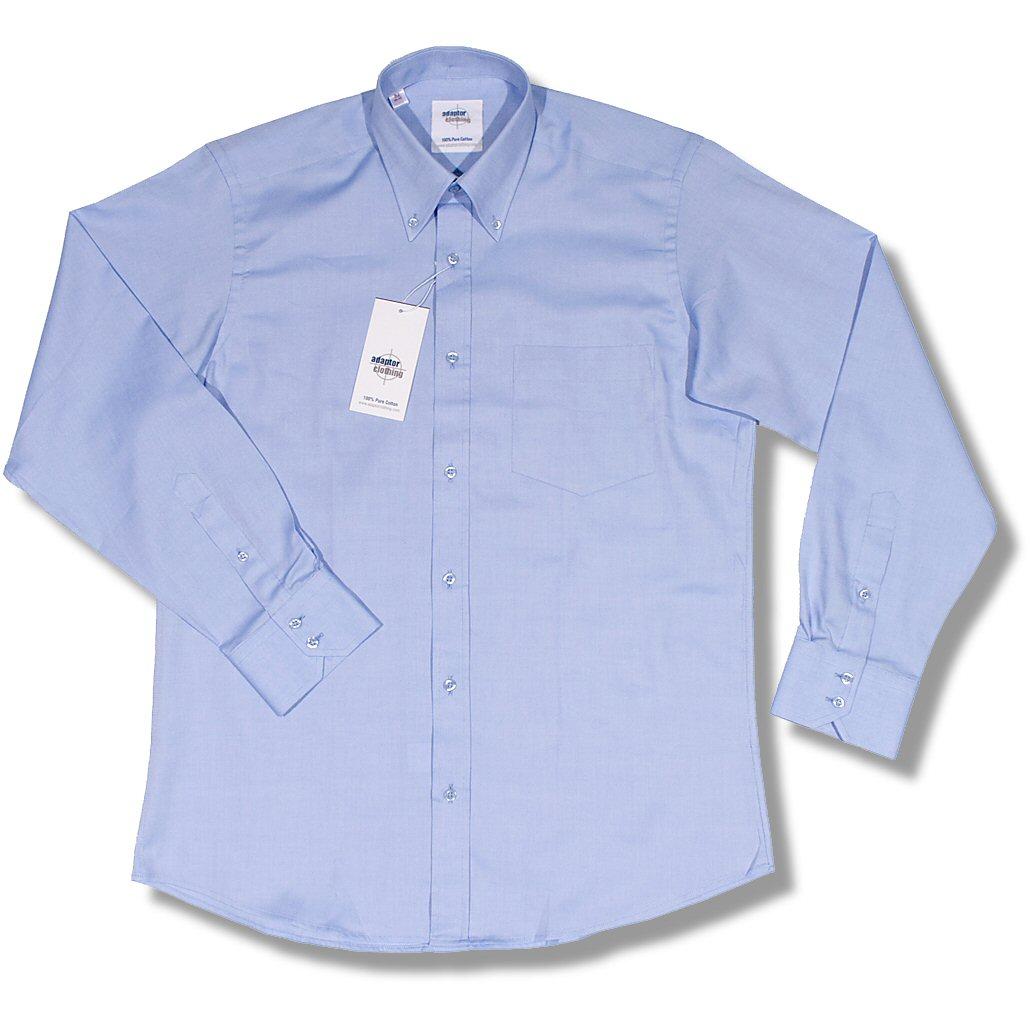 /Adaptor Clothing 100% Cotton Oxford Button Down L/S Plain Smart Shirt | Adaptor Clothing