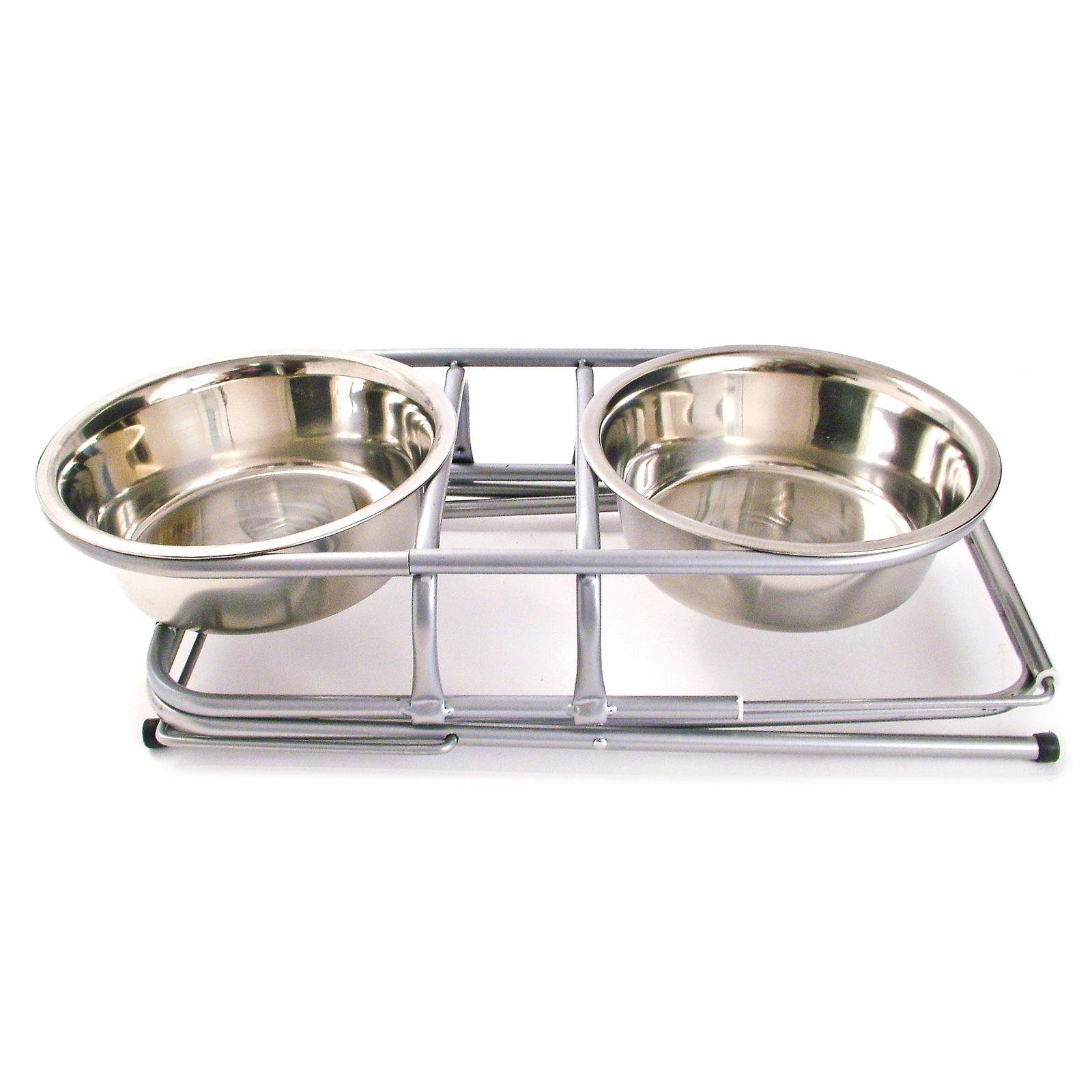 2 Raised 900ml Dog Bowls Stand Elevated Feeding Feeder