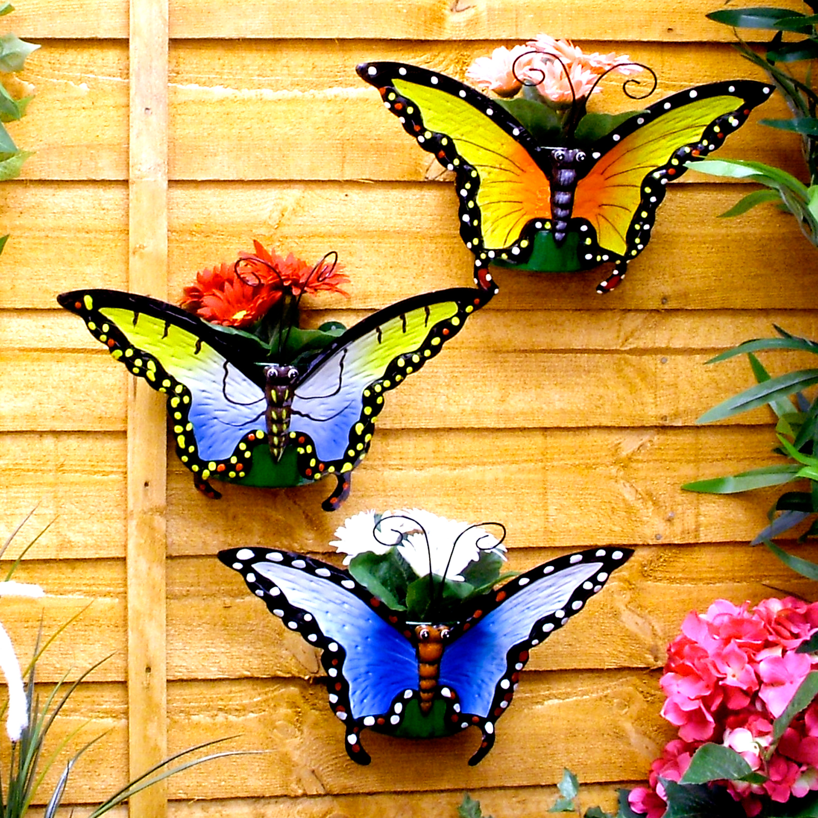 set of 3 butterfly wall planters potted plant pot flower. Black Bedroom Furniture Sets. Home Design Ideas