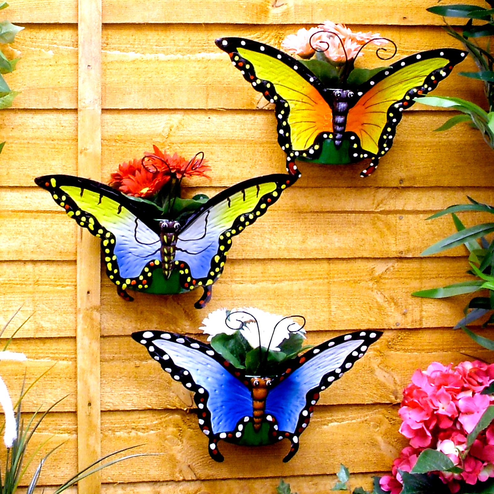 Fioriere da muro esterno : Set di 3 butterfly wall fioriere vasi piante vaso fiore flowerpots