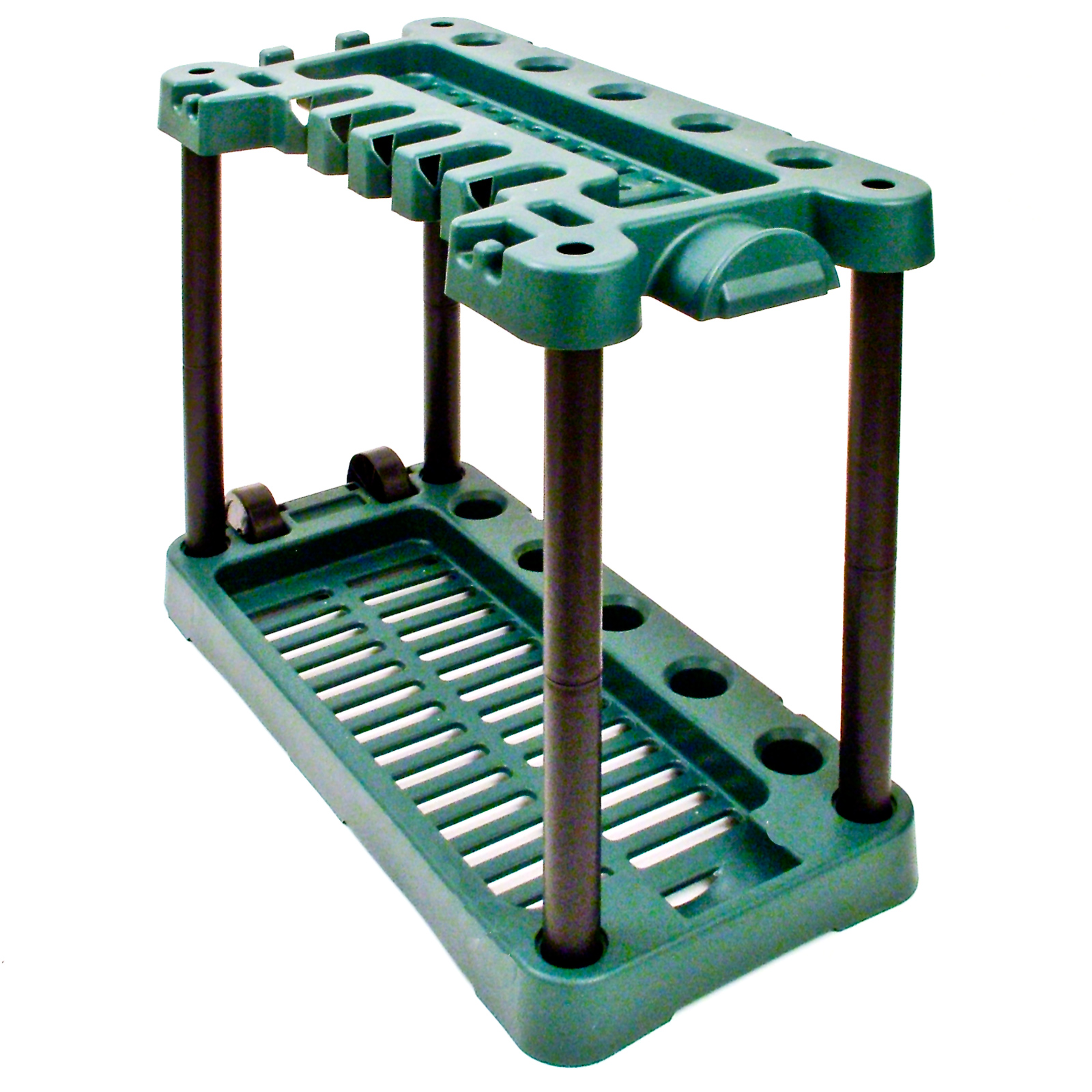 Garden Caddy On Wheels : Garden tool storage rack holder on wheels shed gardening