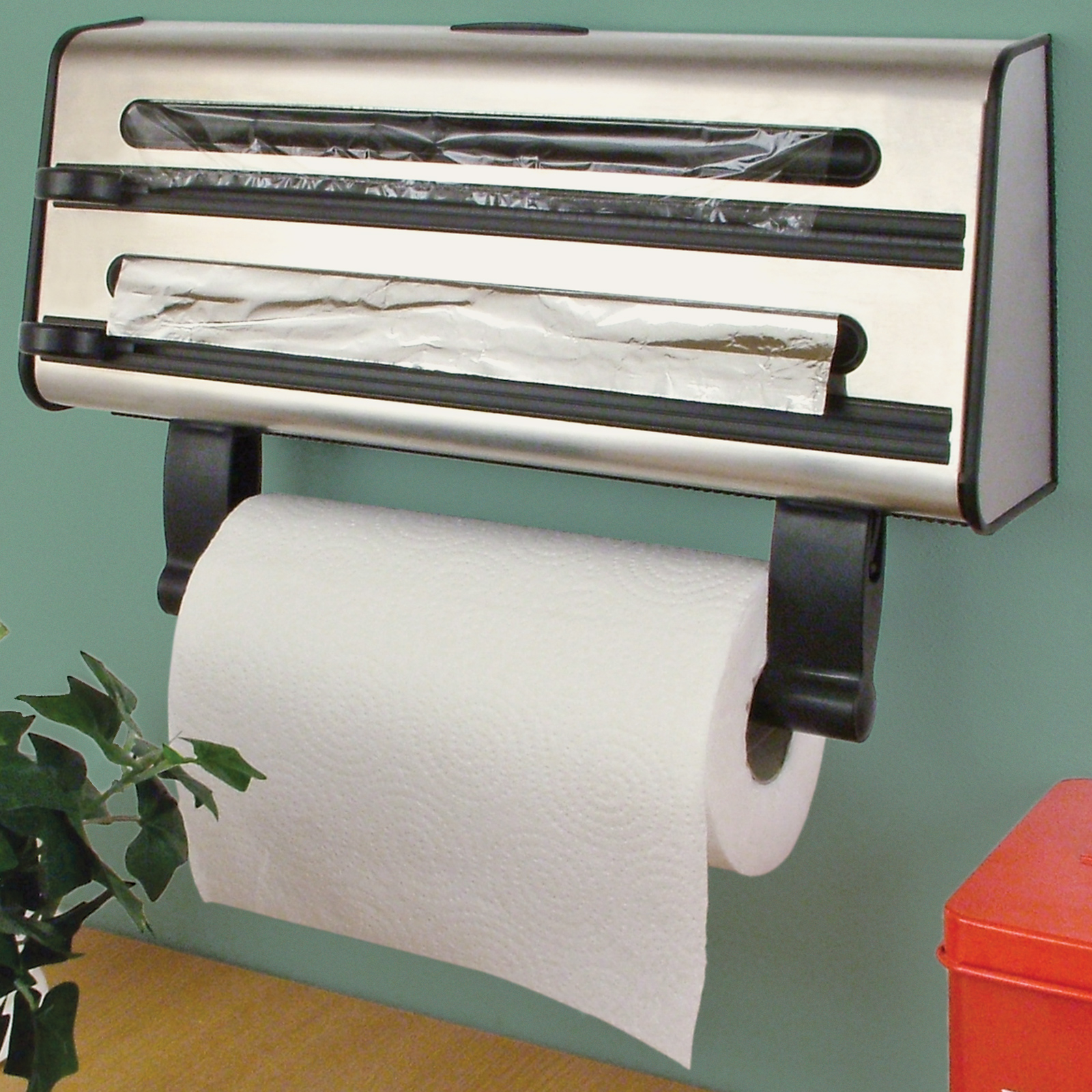 Kitchen Triple Roll Dispenser Cling Film Tin Foil Towel Holder - Kitchen paper towel dispenser