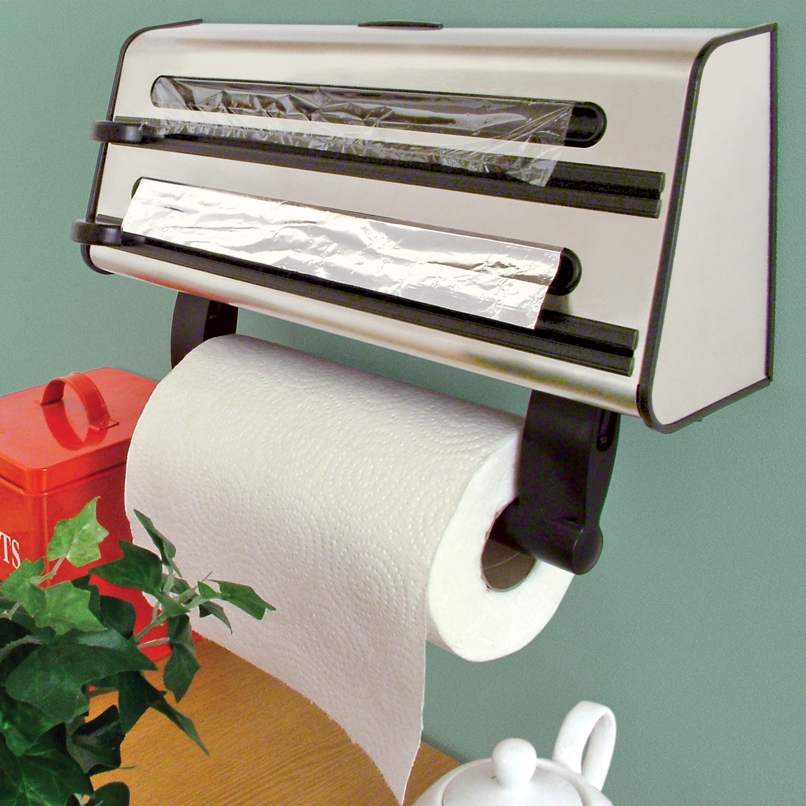 Kitchen Triple Roll Dispenser Cling Film Tin Foil Towel